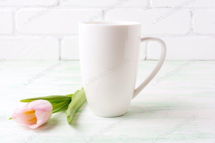 White coffee cappuccino mug mockup with  pink tulip