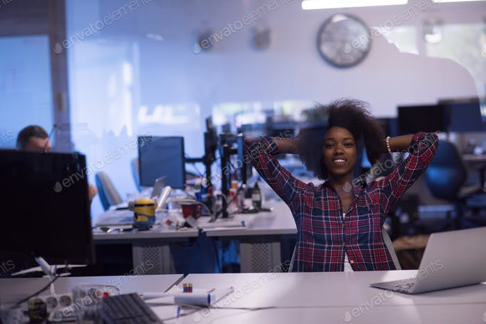 young black woman at her workplace in modern office  African-Ame