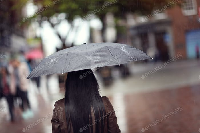 Rain on umbrella