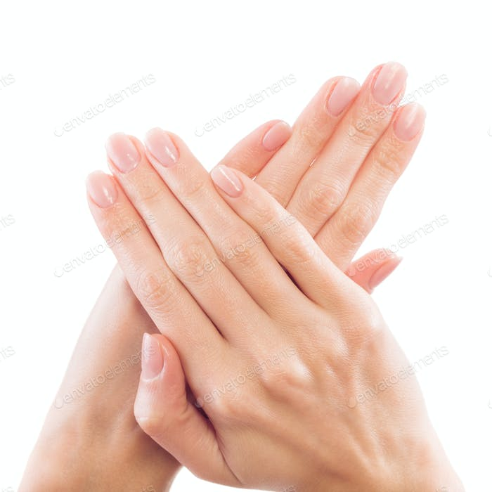 Beautiful Woman Hands Close-up. Careful Manicure.