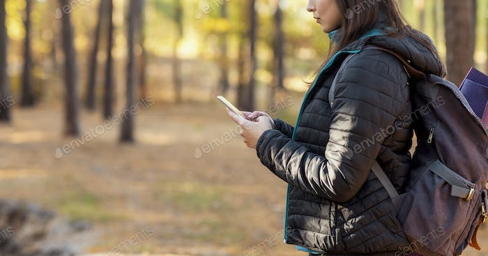 Cropped of female hiker using smartphone, walking by forest