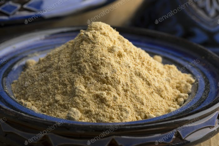 Traditional bowl with Moroccan dried ginger powder