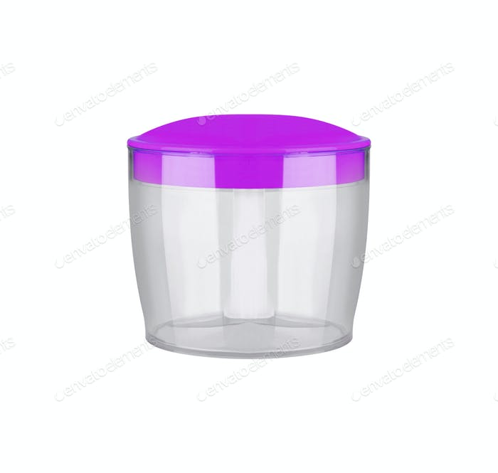 Empty round transparent plastic storage box