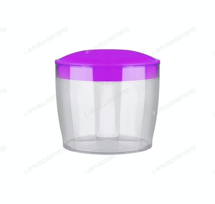 Leere runde transparente Aufbewahrungsbox aus Kunststoff