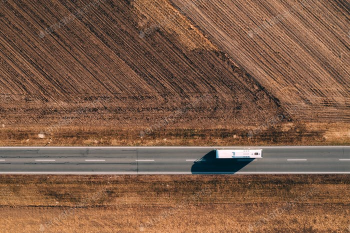 Aerial view of bus on the road