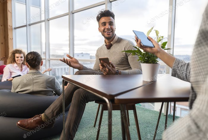 Businesspeople Group In Coworking Center, Coworkers Workplace Mix Race People Meeting Modern Office