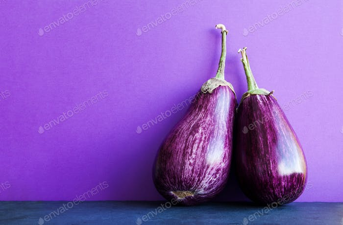 Two ripe purple aubergine eggplants on violet black background.
