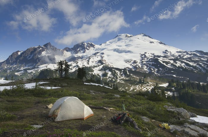 54842,Tent at campsite in rocky mountain range, North Cascades, Washington, United States