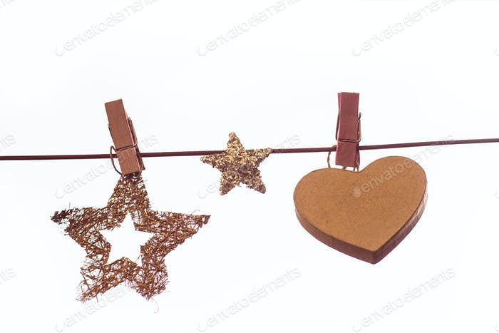 Christmas decorations with wooden pegs on a line