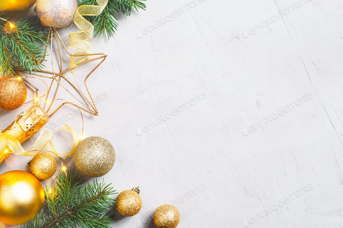 Christmas Composition with Golden Balls and Fir Branches