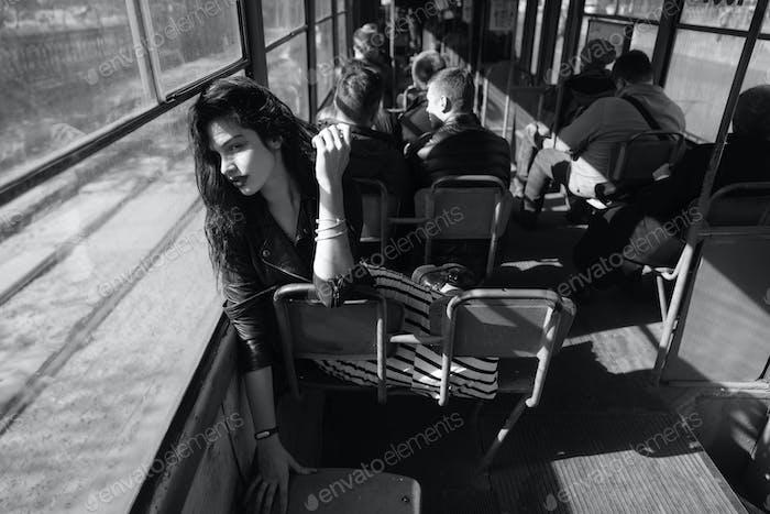 Woman traveling inside the tram