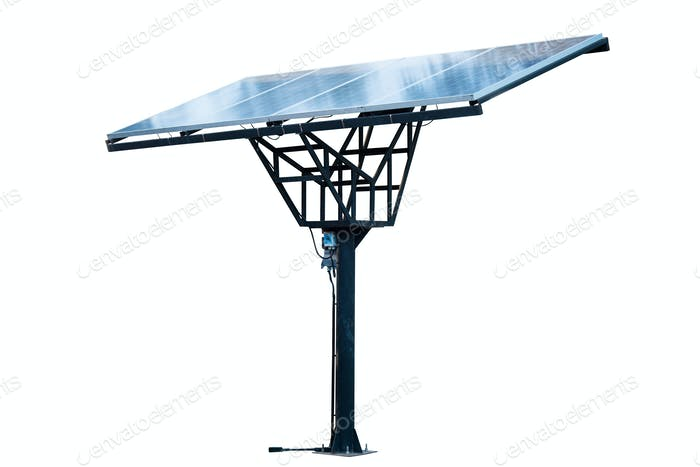Solar panels system on the pole isolated.