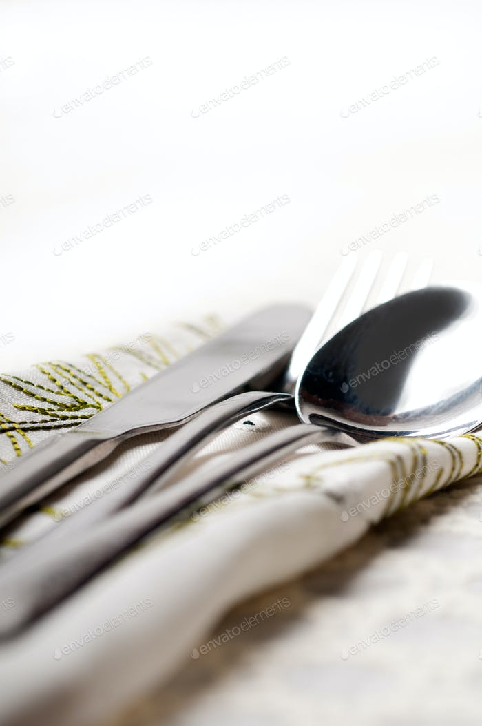 knife fork and spoon macro