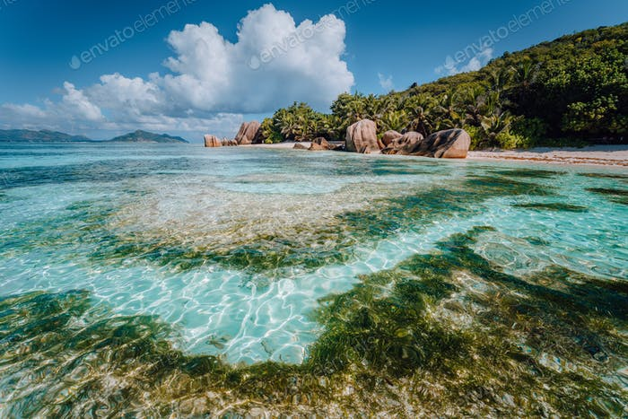 Famous tropical beach Anse Source d'Argent with granite boulders, La Digue Island, Seychelles