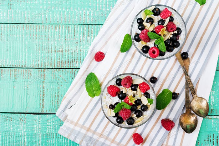 Vegan almond milk chia seeds pudding with raspberries, blackberries
