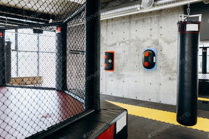 Gym for boxing with a ring, punching bag and other equipment