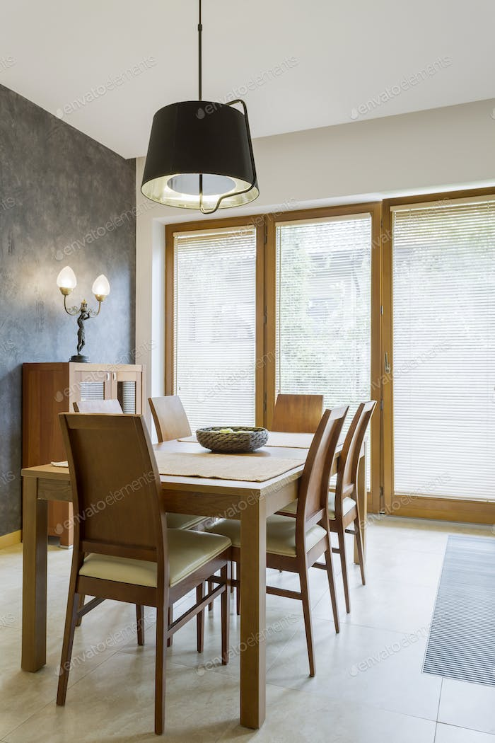 Classic dining room with wooden table
