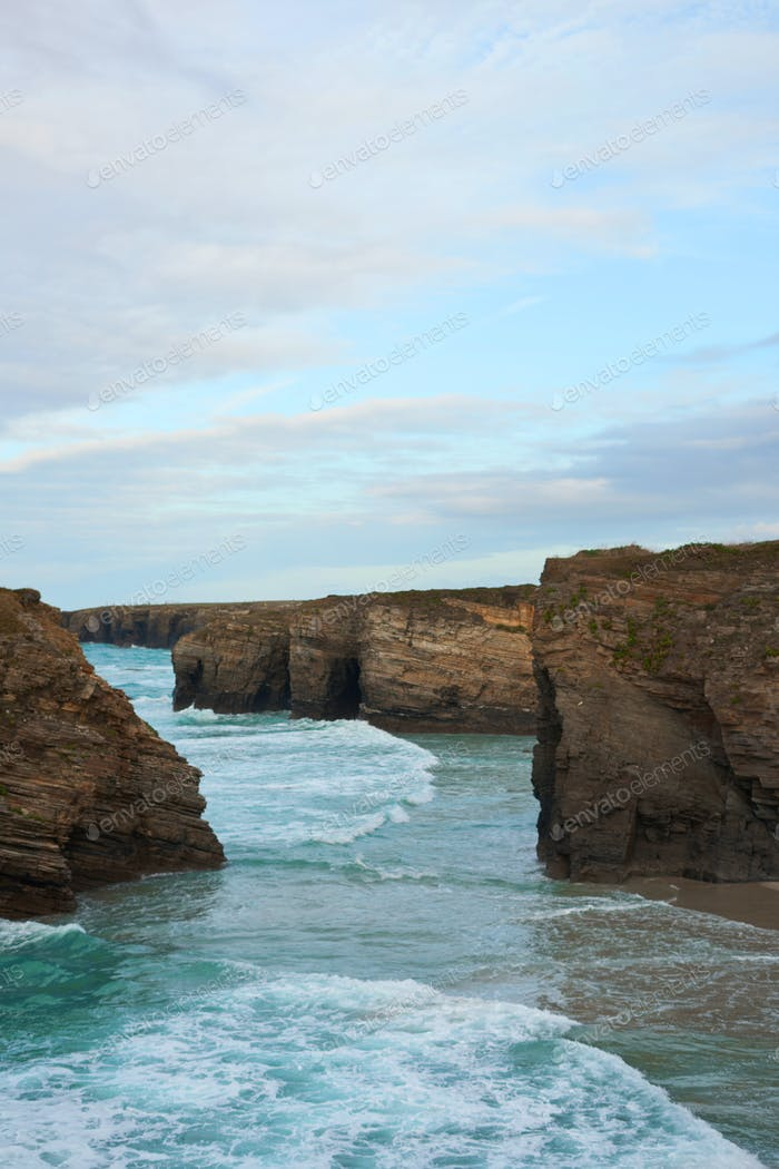 Landscape of the Cathedrals Beach (Aguasantas) in Galicia, Spain