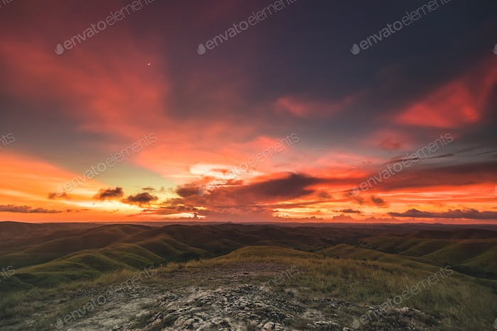beautiful sunset over climb sumba island indonesia