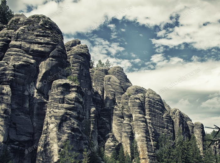 Rock Town, National Park of Adrspach-Teplice in Czech Republic, hdr effect