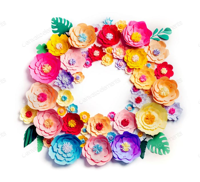 Colorful handmade paper flowers wreath
