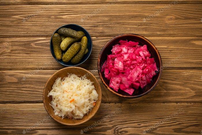Assorted fermented vegetables