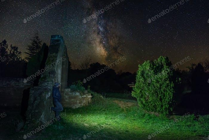 Man with Flashlight Under Milky Way