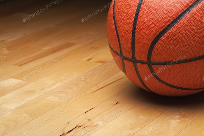 Basketball on a Maple Hardwood Court Floor