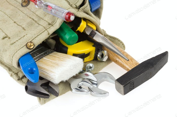 set of tools in belt bag isolated on white