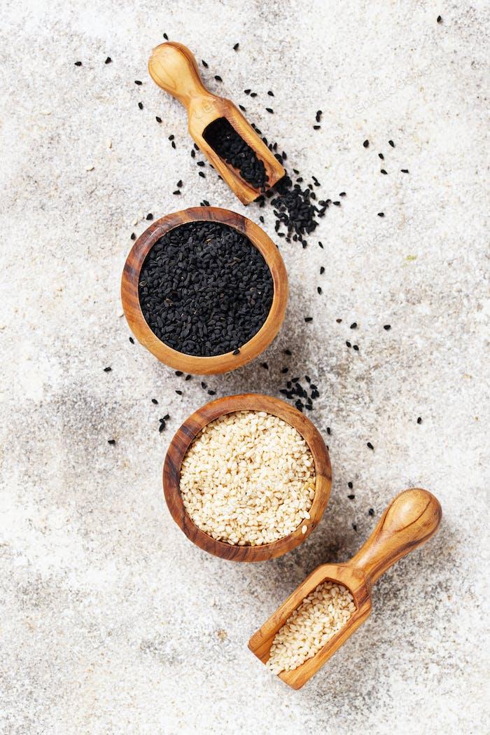 White and black sesame seeds