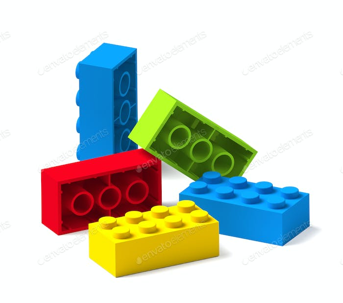 Colorful building toy blocks 3D