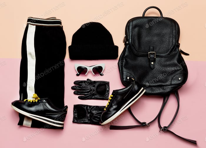 Fashion Black Outfit Accessories For Women. Beanie Backpack Sne