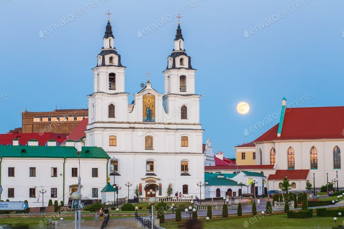 Moonrise over Cathedral Of Holy Spirit In Minsk, Belarus