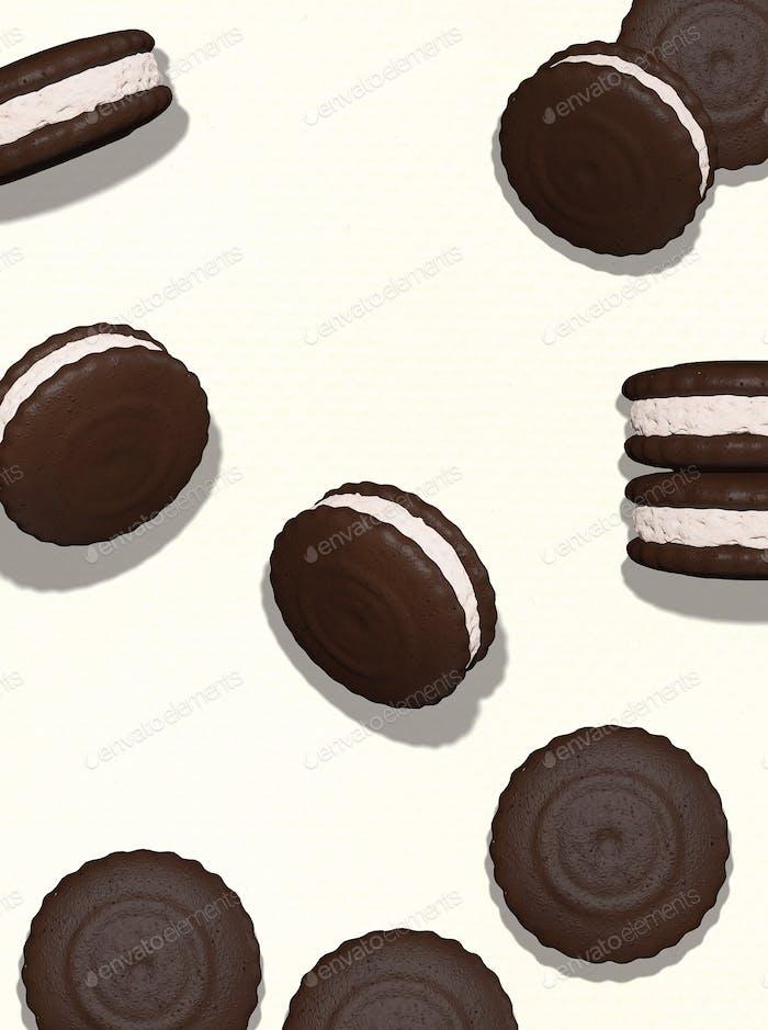 3d render flat lay pattern cookies
