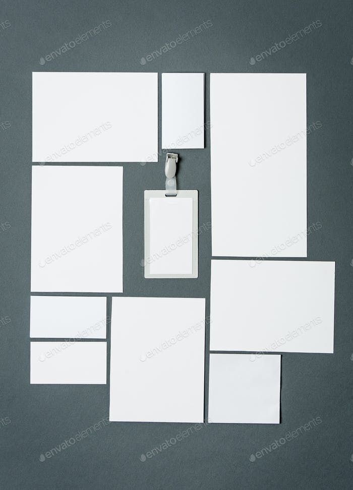 Mock-up business template with cards, papers, pen. Gray background.