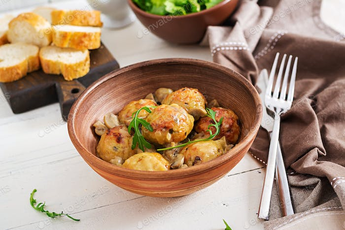 Delicious homemade meatballs with mushroom cream sauce.  Swedish cuisine.