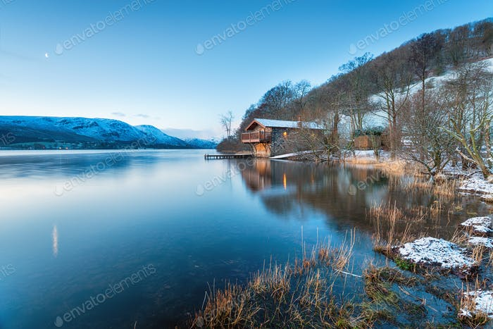 Dawn at Pooley Bridge boathouse