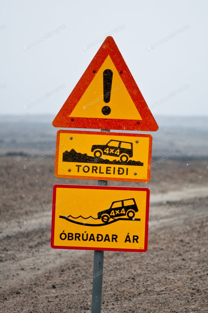 Iceland traffic signs - it's dangerous driving over there!
