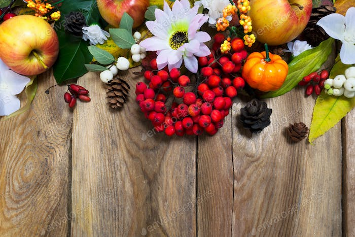 Fall decoration with pumpkin, apples, autumn leaves and rowan be