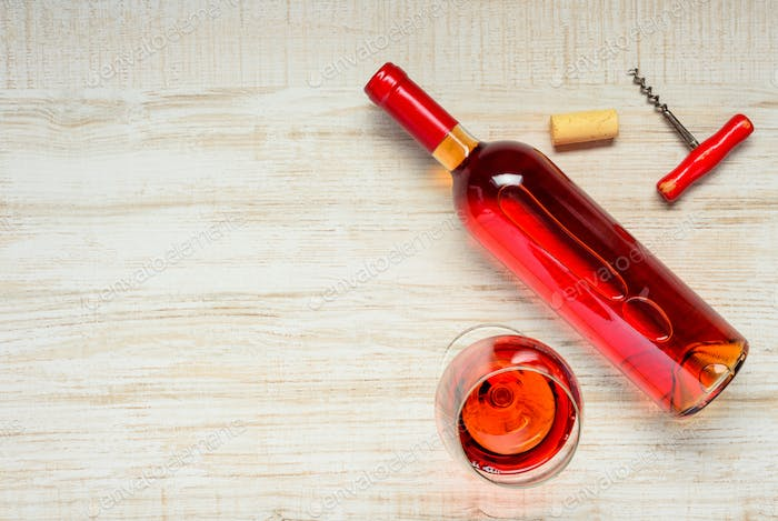 Rose Wine with Copy Space
