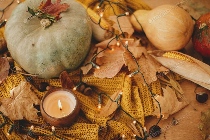 Pumpkins, autumn leaves, candle, warm lights and acorns