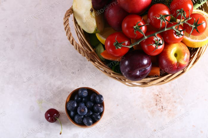 Basket with Vegetables and Fruits