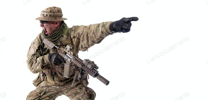 Army military soldier screaming, pointing attack direction