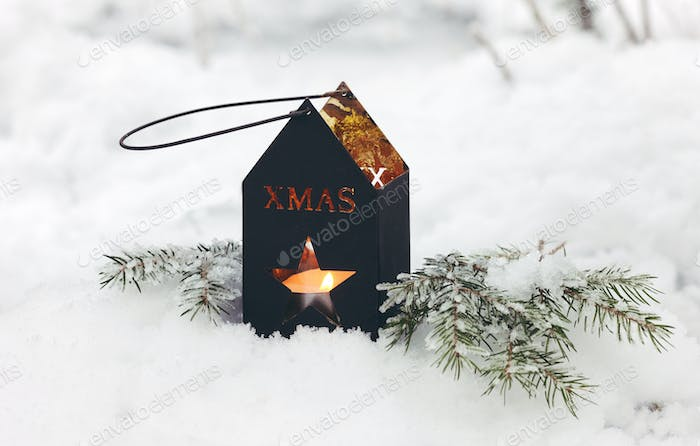 christmas lantern on the snow