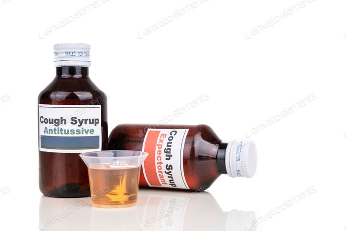 Antitussive and expectorant cough mixture is prescribed as medication for dry cough and chesty cough