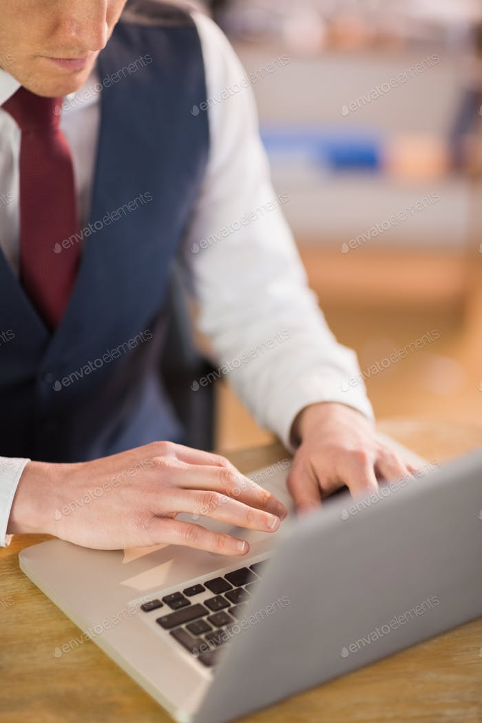 Businessman working on his laptop in his office