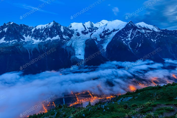 Chamonix valley in the evening. France