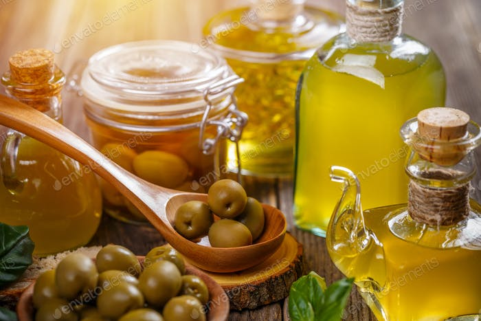 Olives berries and oil