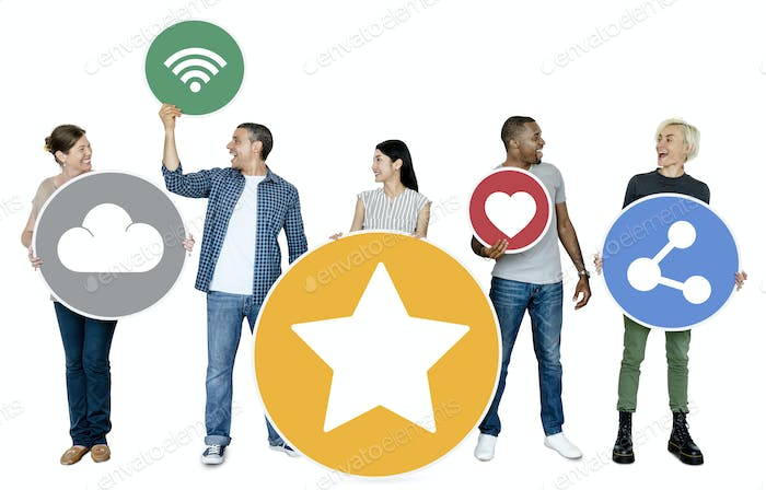 Happy people holding internet icons