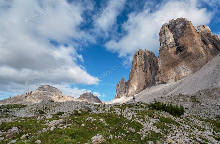Beautiful mountain scenery in Dolomites by Tre Cime di Lavaredo lake